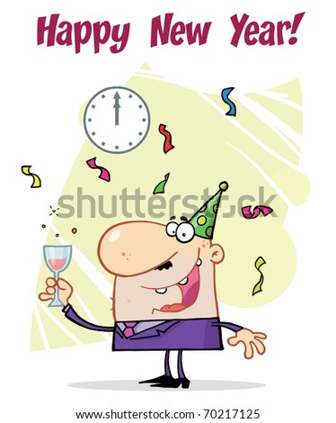 Business Man Toasting At A New Years Party - stock photo