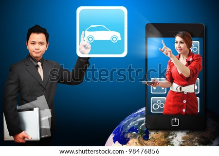 Business man touch the Car icon from mobile phone : Elements of this image furnished by NASA