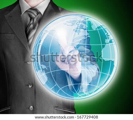 business man touch world map and connection