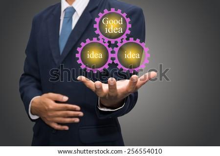 Business man touching good idea - stock photo