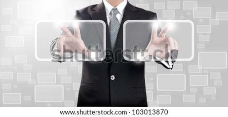 Business man touching on touch screen icon - stock photo