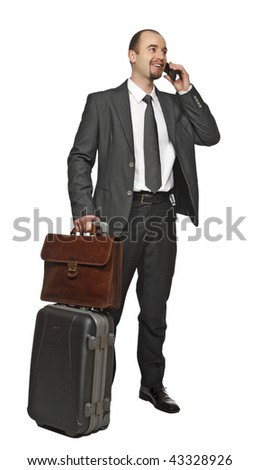 business man travel and use mobile isolated on white background