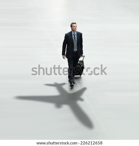 business man travel international airport concept - stock photo