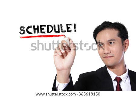 "Business man underlining the word ""Schedule"" on screen, over white background"