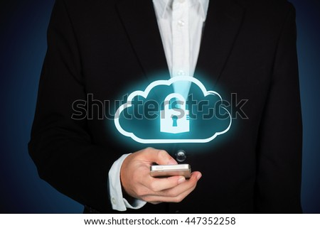 Business man use mobile phone with cloud data security services concept. - stock photo