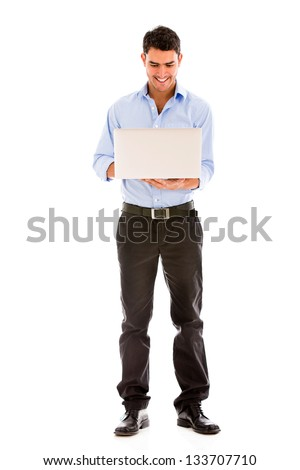 Business man using a laptop computer - isolated over white - stock photo