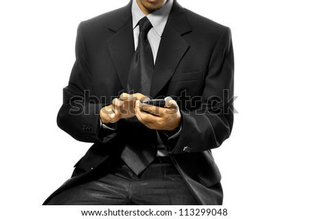 Business man using his cellphone isolated over white background - stock photo