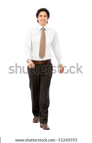 Business man walking towards the camera - isolated over white - stock photo