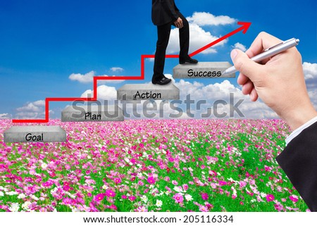 business man walking up stepping ladder have red rising arrow on field flower against blue sky with hand writing word goal plan action success idea concept for success and growth - stock photo
