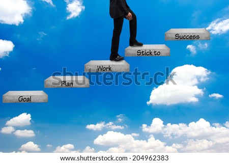 business man walking up stepping ladder on blue sky and word goal plan work stick to success idea concept step by step for success and growth business