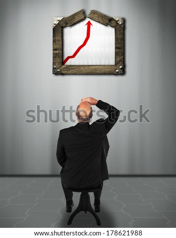 business man watching exploding business success chart - stock photo