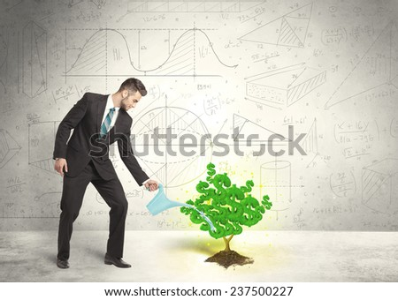 Business man watering a growing green dollar sign tree concept