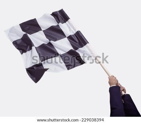 Business Man waving Checkered Flag - stock photo