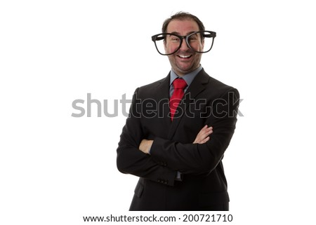 Business man wear funny large glasses - stock photo