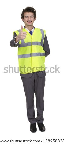 Business Man Wearing Security Jacket Showing Thumb Up Sign Isolated Over White Background