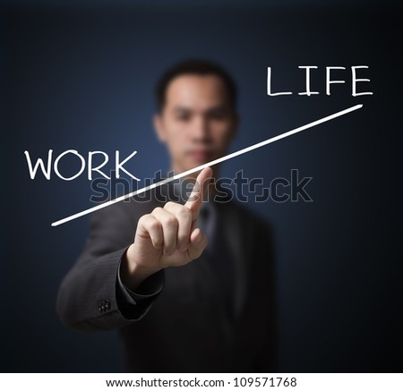 business man weight hard work more important than life - stock photo