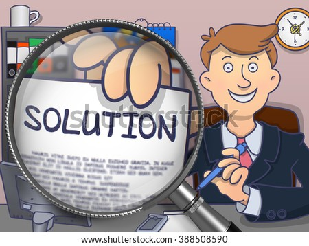 Business Man Welcomes in Office and Holding a Concept on Paper Solution. Closeup View through Magnifying Glass. Colored Doodle Illustration. - stock photo