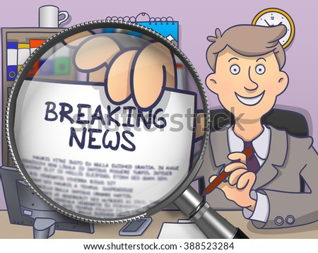 Business Man Welcomes in Office and Shows Text on Paper -Breaking News. Closeup View through Magnifying Glass. Multicolor Modern Line Illustration in Doodle Style. - stock photo