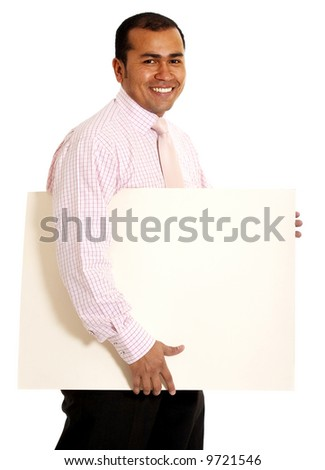 business man with a banner add isolated over a white background