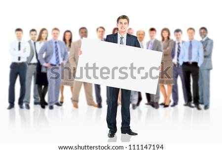 Business man with a banner and his business team - stock photo