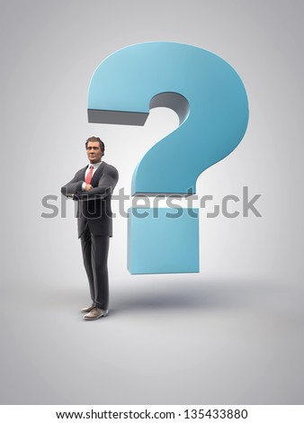 Business man with a big interrogation sign, 3d render - stock photo