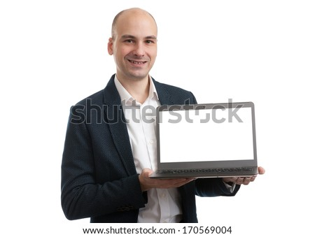 business man with a laptop computer isolated over a white background