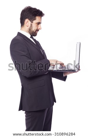 Business man with a laptop, isolated on white background