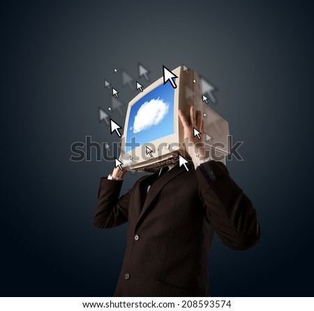 Business man with a monitor on his head, cloud system and pointers on the screen on a dark background