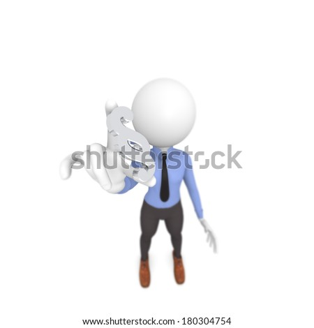 Business man with a paragraph icon, focus on foreground, 3d image - stock photo