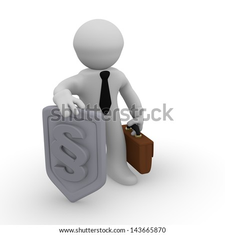 Business man with a protective shield with a paragraph icon - stock photo