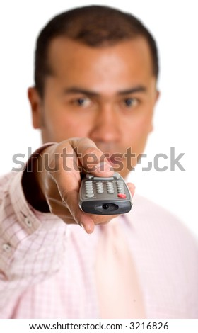 Business man with a remote control over a white background