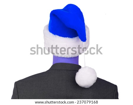 Business man with a santa hat isolated, blue - stock photo
