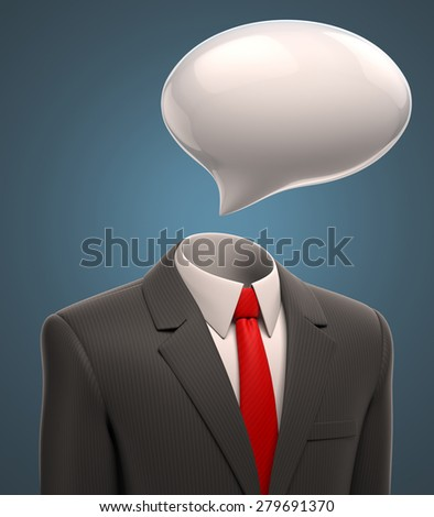 business man with a speech bubble for a head - stock photo