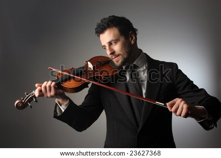 business man with a violin