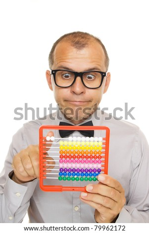 Business man with abacus calculator isolated on white background - stock photo