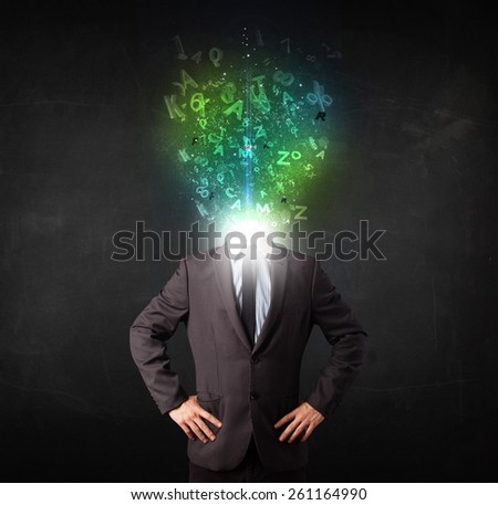 Business man with abstract glowing letters on head concept - stock photo