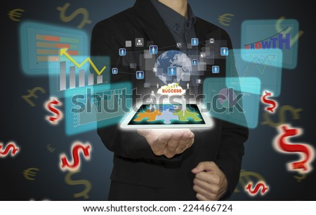 Business man with analyze graph on technology.