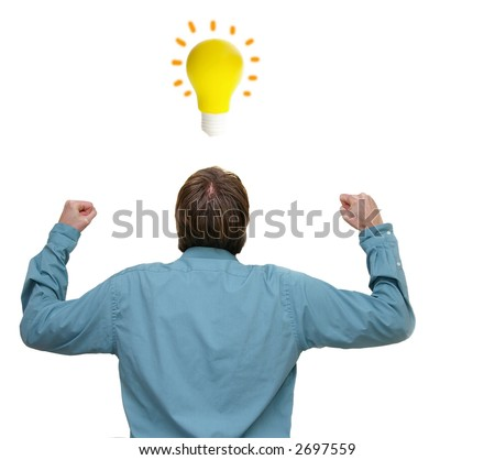Business man with arms raised and an idea, isolated on white - stock photo