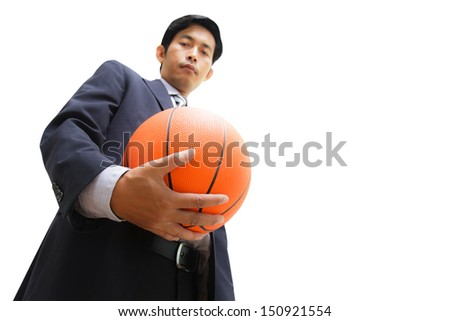 Business man with basketball on white background with clipping path  - stock photo