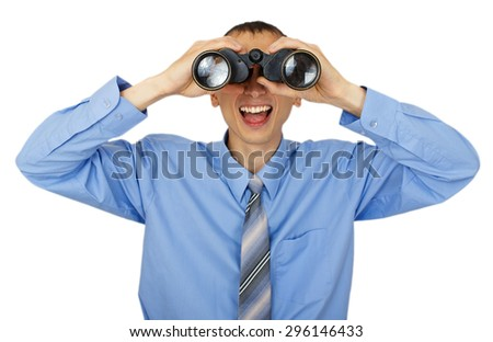 Business man with blue tie with binoculars isolated on white background