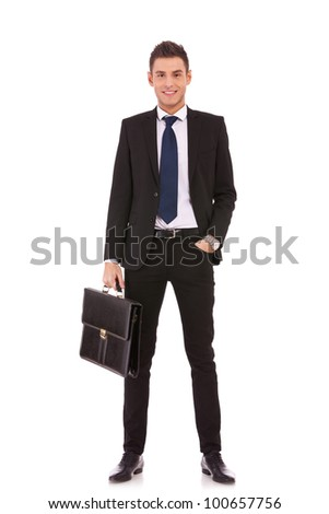 Business man with briefcase standing on white background