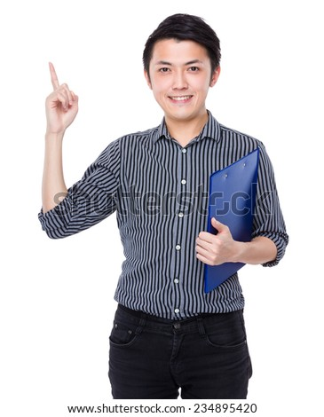 Business man with clipboard and finger point up