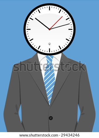 Business man with clock head