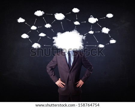 Business man with cloud network head on grungy background - stock photo