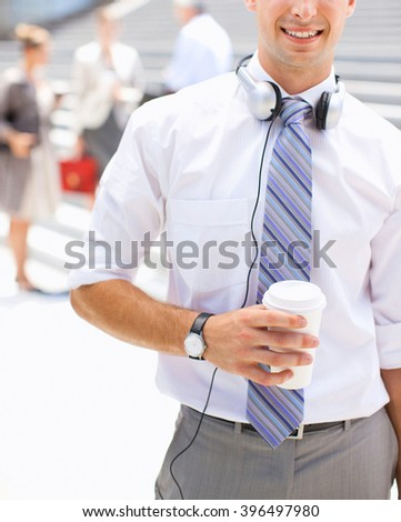 business man with coffee - stock photo