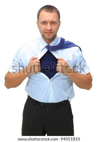 business man with courage and superman concept tearing off his shirt isolated over white background - stock photo