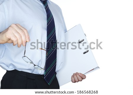 business man with document folder and glasses - stock photo