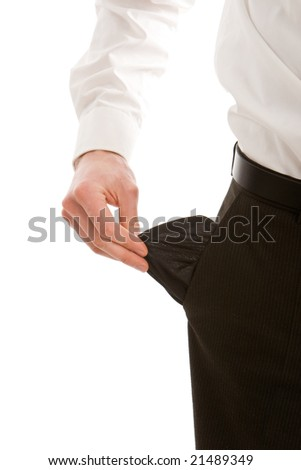 Business man with empty pockets isolated on white