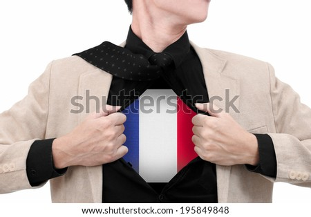 Business man with France flag in shirt. - stock photo