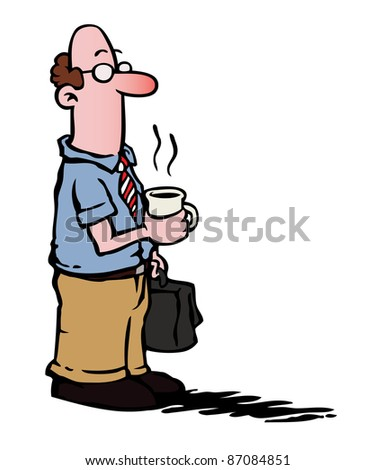 Business man with glasses having a cup of coffee and carrying a suitcase. - stock photo